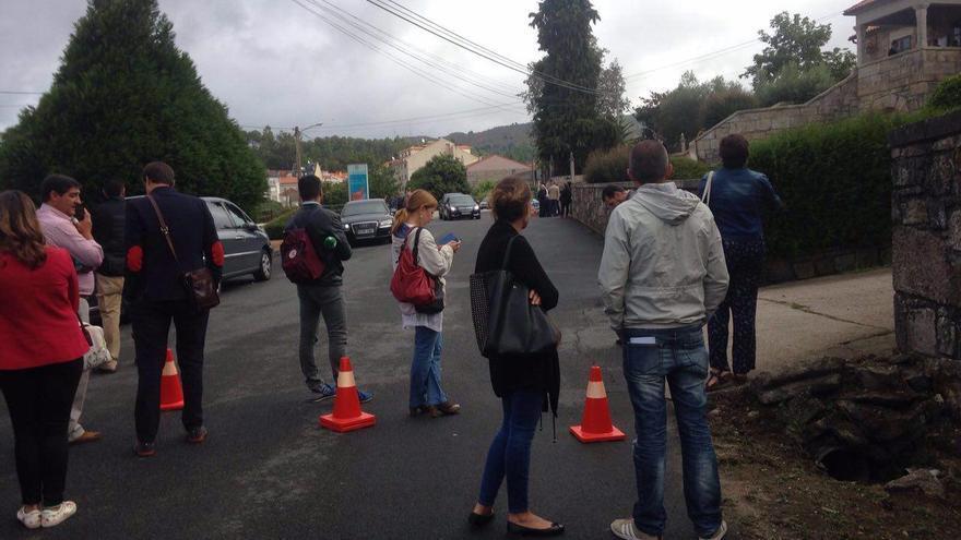 Los conos que separaban a los redactores de Mariano Rajoy este 14 de septiembre.