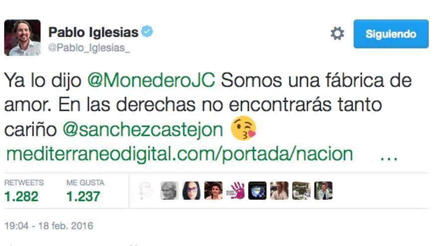Tuit de Pablo Iglesias el 18 de febrero de 2016