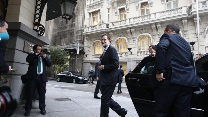 Mariano Rajoy, este lunes, a su llegada al desayuno informativo de Xavier Garcia Albiol.