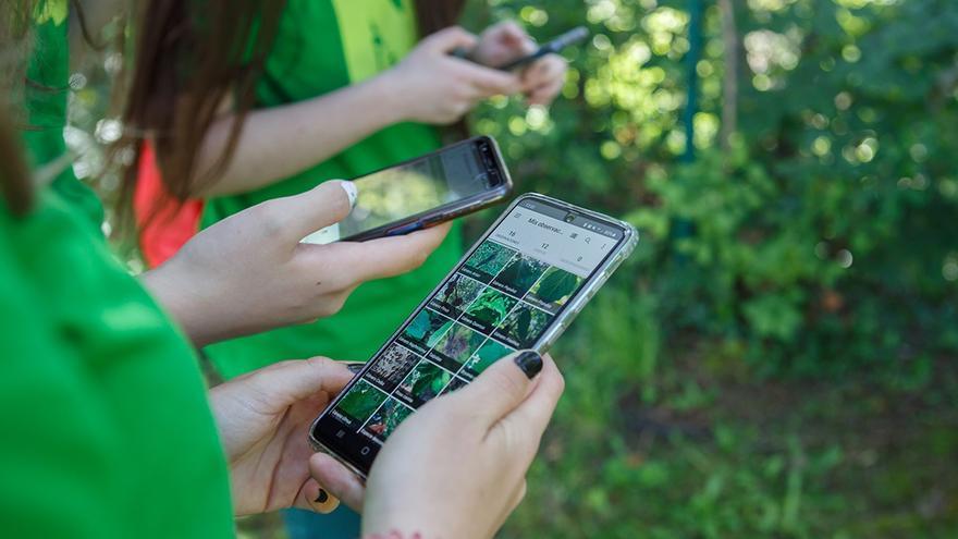 Alumnas utilizando la aplicación de la plataforma iNaturalist