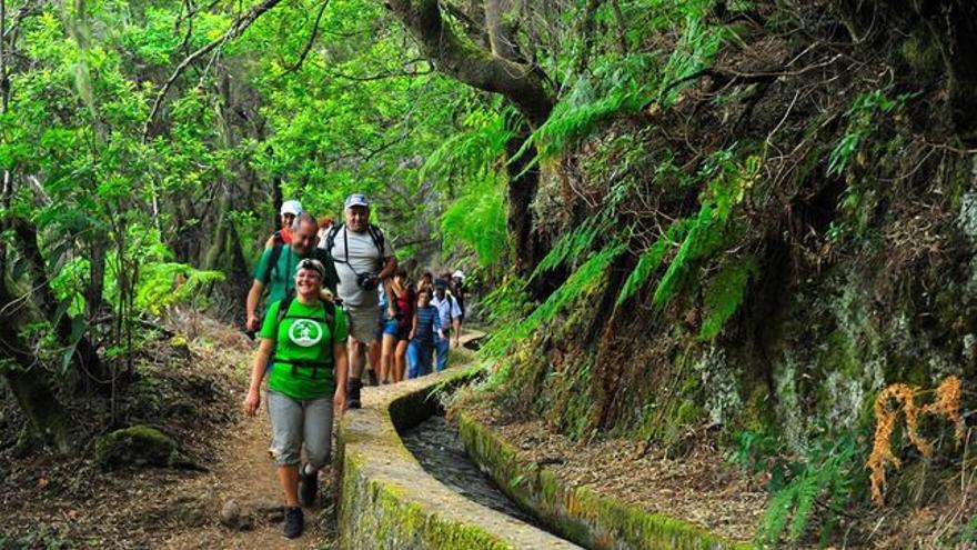 En la imagen, un grupo de senderistas.