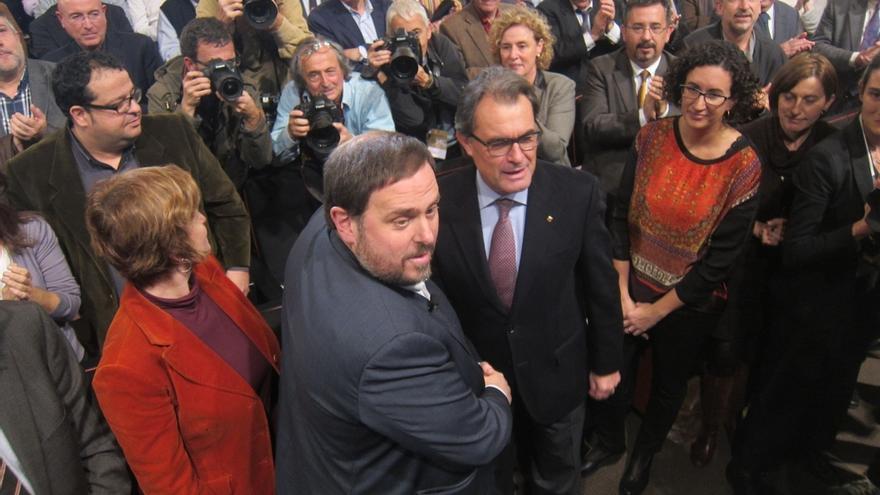 Mas y Junqueras se reúnen en la Generalitat para negociar la lista unitaria
