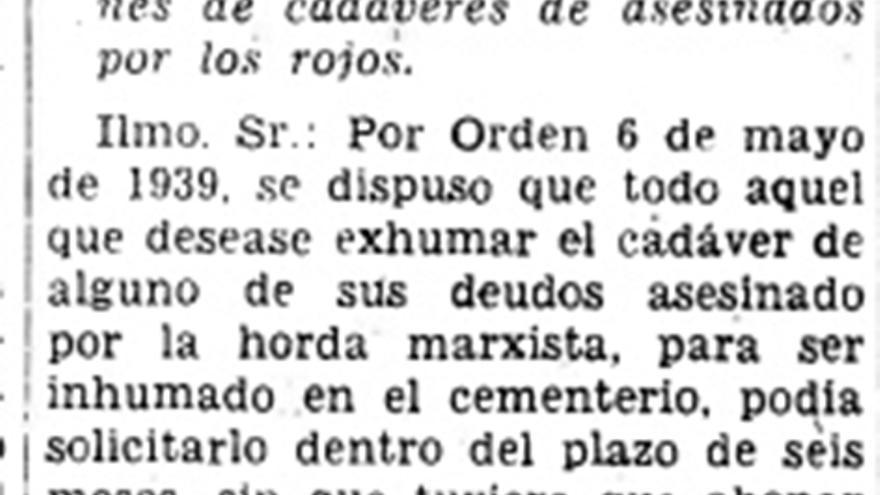 Decreto franquista de 1940.