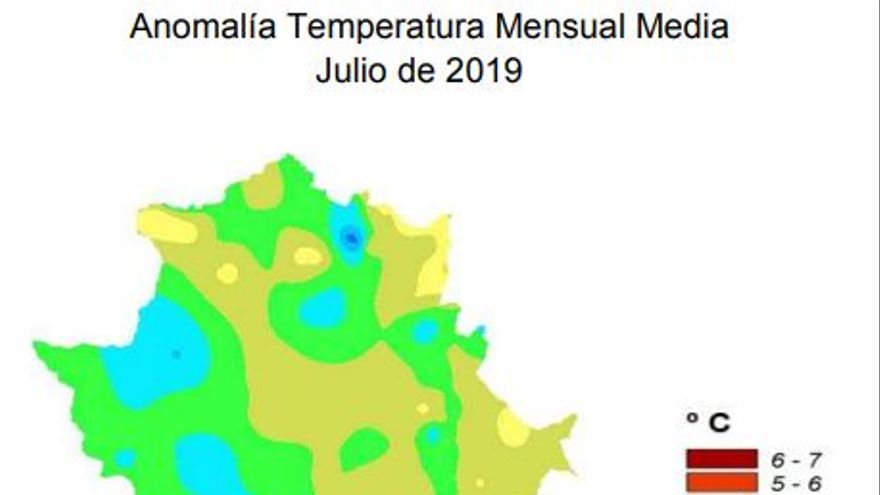 Extremadura temperatura media julio 2019