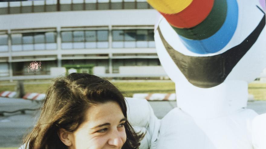 Anna Elías, fotógrafa de la Expo, con Curro