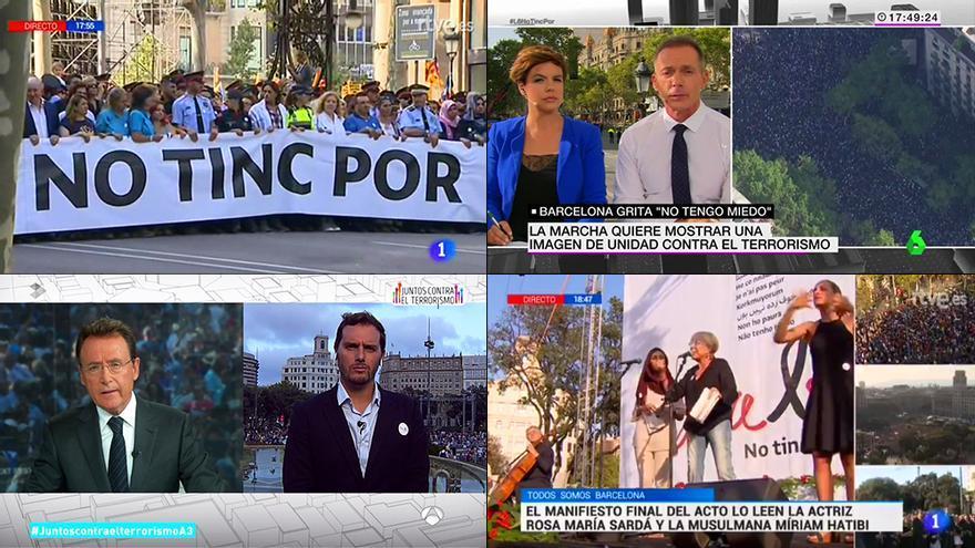RTVE y Atresmedia se reparten el seguimiento televisivo de la marcha antiterrorista de Barcelona