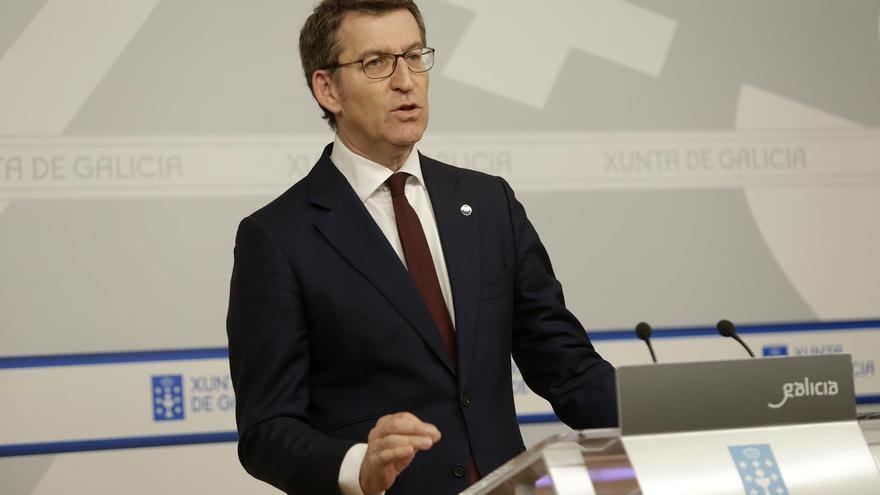 El presidente de la Xunta, Alberto Núñez Feijóo, este jueves en rueda de prensa