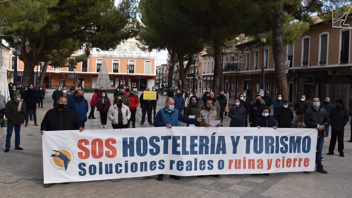 Concentración de los hosteleros en Daimiel (Ciudad Real)