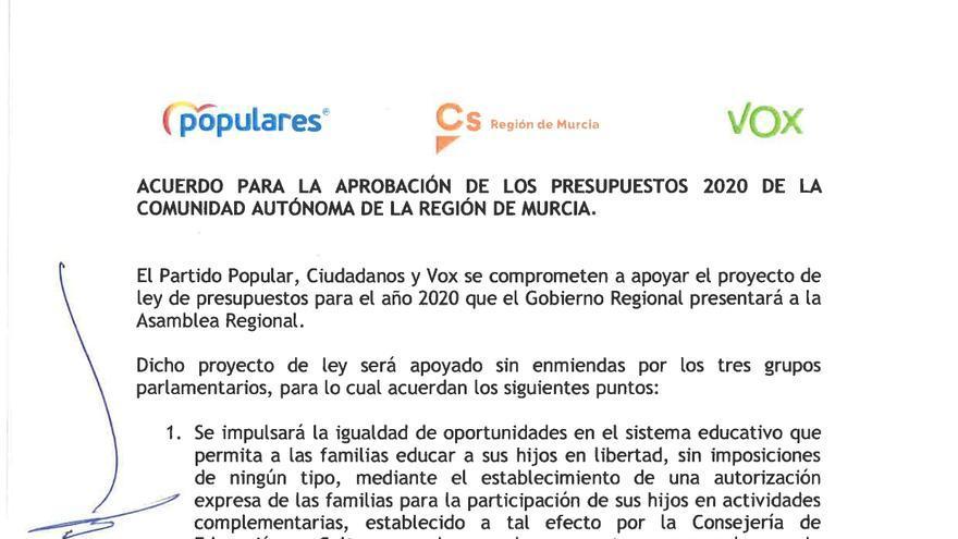 Primera página del acuerdo presupuestario de Murcia
