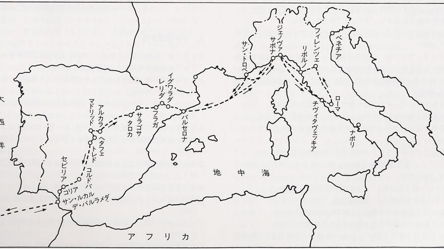 Mapa del recorrido en Europa de la misión Keicho (1613-1620)