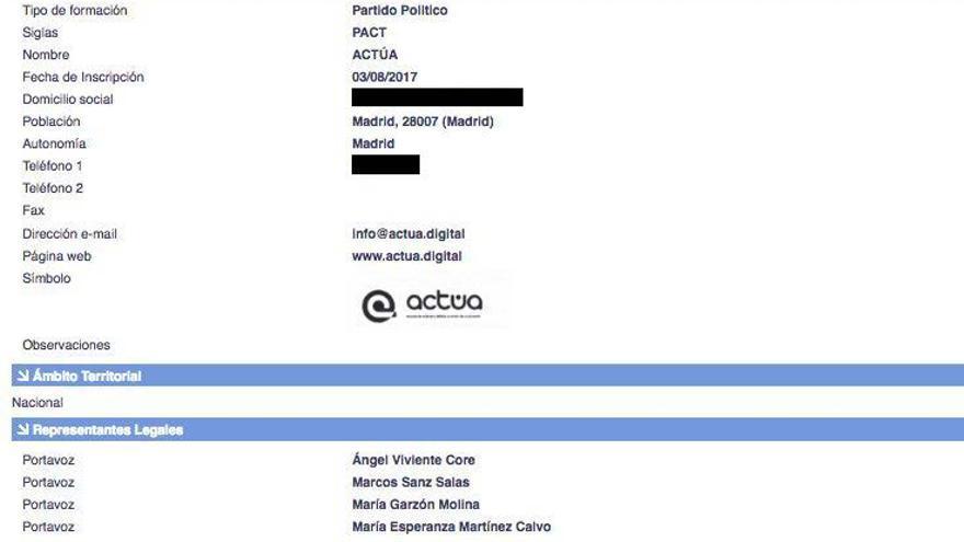 Captura de la web de Interior con los datos de Actúa.