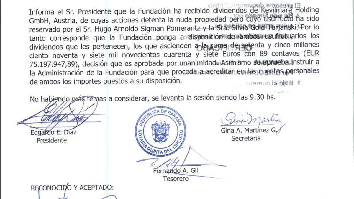 A través de la fundación en Panamá, el matrimonio Gold-Sigman recibió en 2015 dividendos de su grupo por más de 75 millones de euros, por los cuales tributaron ganancias, informaron.
