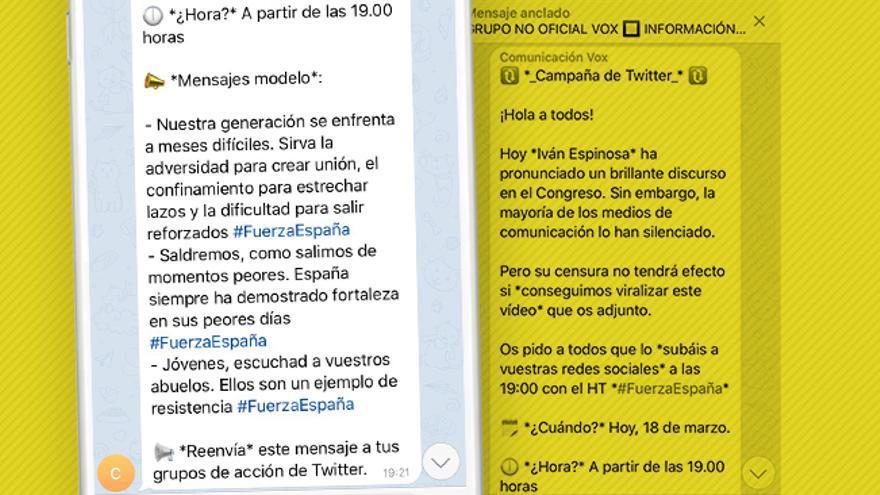 Mensaje de la dirección de Vox en un grupo de sus simpatizantes, indicando qué mensajes compartir en sus redes sociales, cuándo y cómo, con objetivo de aumentar el impacto del discurso de la formación.