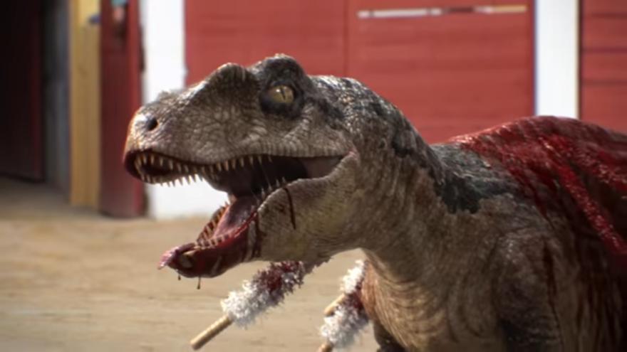 Reemplazan toro por dinosaurio