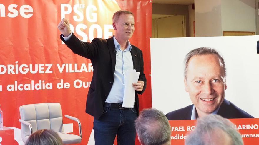 Rafael Rodríguez Villarino, candidato del PSdeG a la alcaldía de Ourense, en un acto de campaña