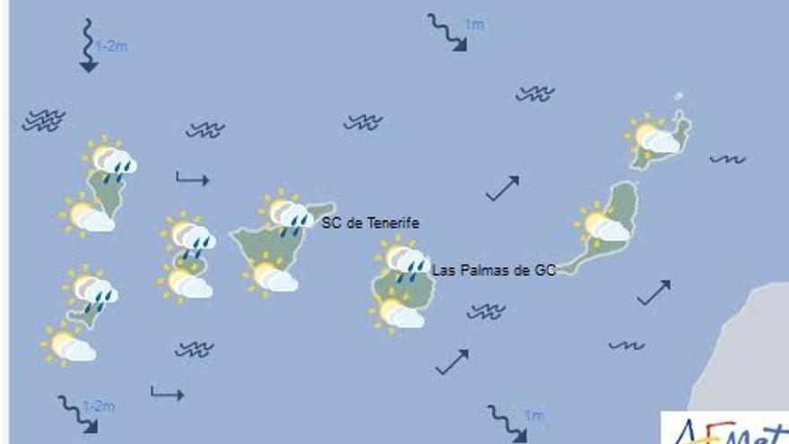 Mapa con la previsión del tiempo para este lunes, 7 de noviembre