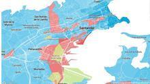 Mapa de reparto de votos de las elecciones generales del 10N en Santander.