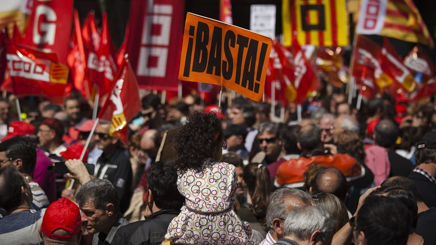 Imagen de la manifestación del Primero de Mayo en Barcelona. /ENRIC CATALÀ