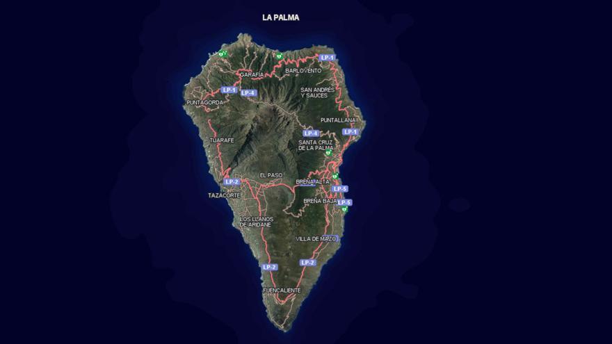 En la imagen se puede observar la ubicación de desfibriladores externos emplazados en La Palma.