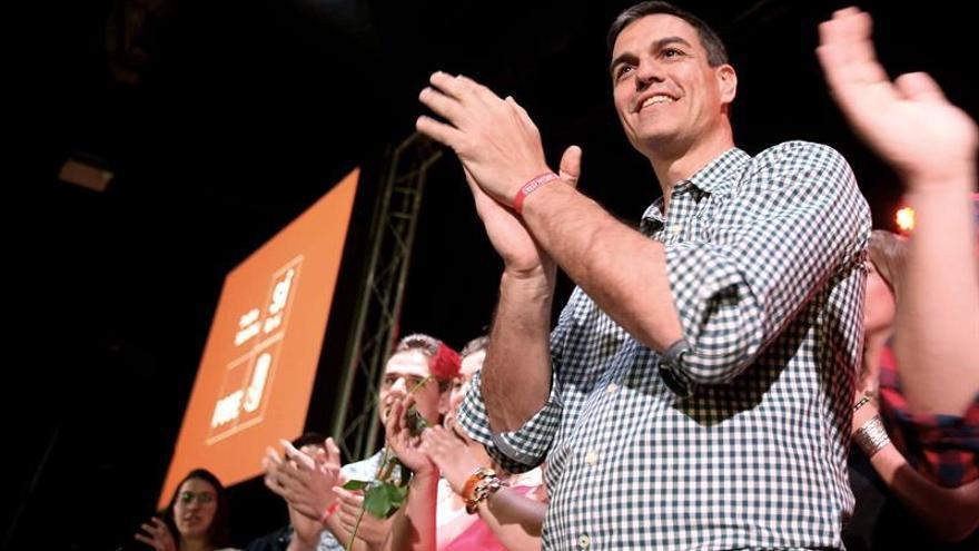 El precandidato a la Secretaría General del PSOE Pedro Sánchez durante el mitin con afiliados y simpatizantes en La Laguna. EFE/Cristóbal García