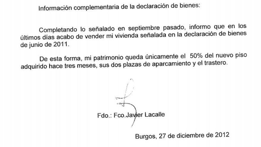 Hoja añadida a la declaración de bienes del alcalde de Burgos