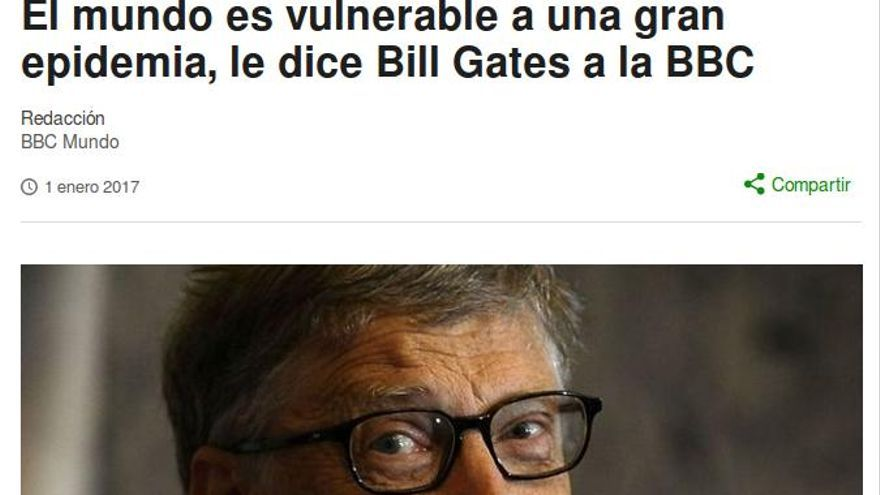 Titular sobre Bill Gates en BBC.