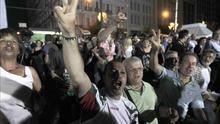 Los partidarios del 'no' celebran los resultados en Atenas. / Efe