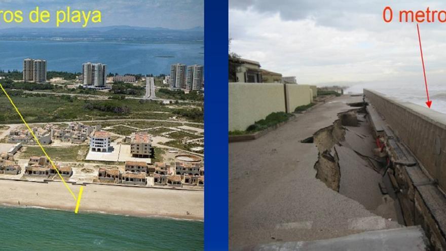 La playa de La Casbah en 1977 y en 2010