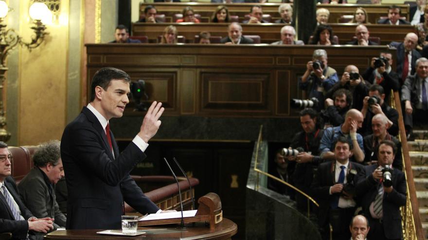 El secretario general del PSOE, Pedro Sánchez, en la sesión de investidura.