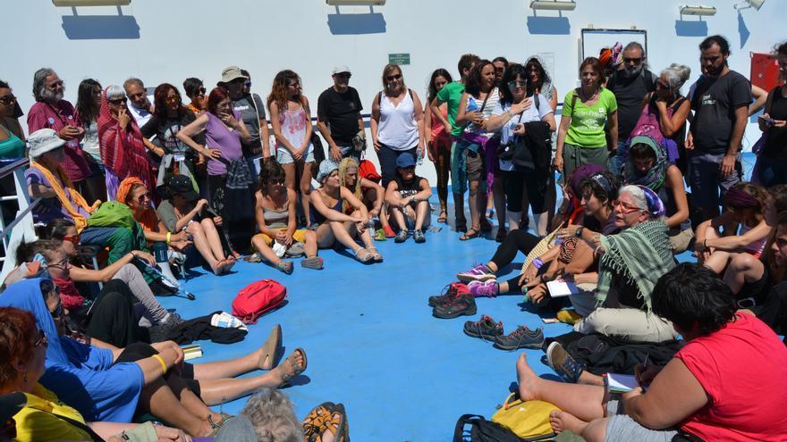 Algunas de las participantes de la Caravana a Grecia./ Virginia Enebral