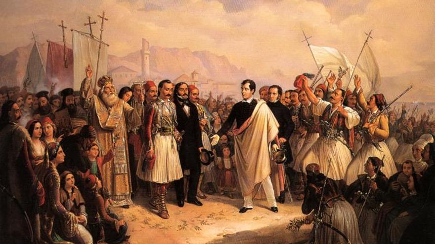 Lord Byron a su llegada a Missolonghi (Grecia)