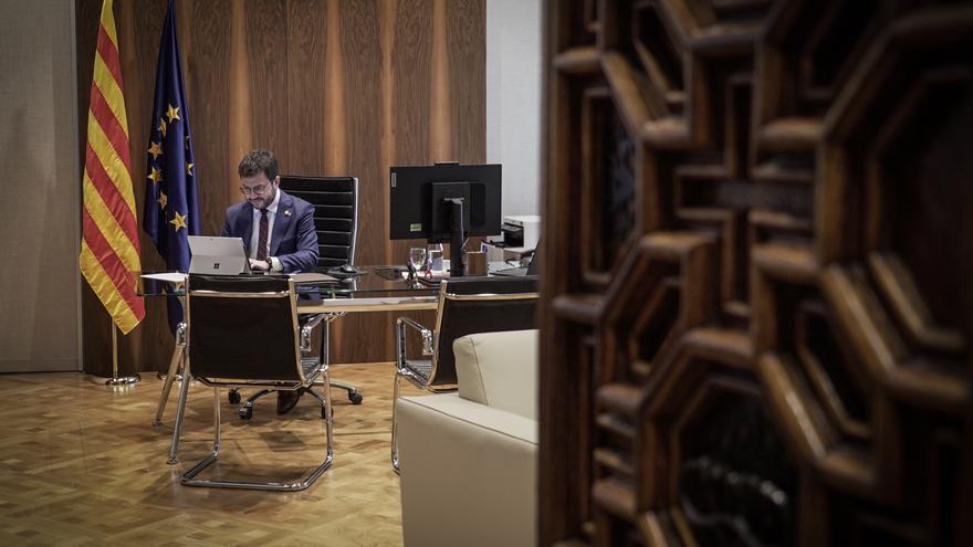 Aragonès, en el despacho reservado al president y que Torra no quiso ocupar.
