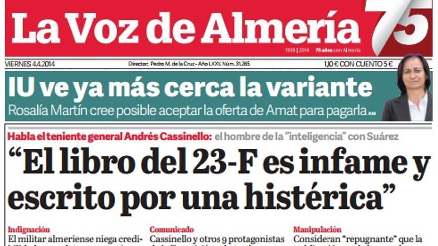 Portada de La Voz de Almería