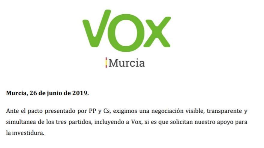 Vox-Murcia ha presentado un documento con sus exigencias para apoyar la investidura