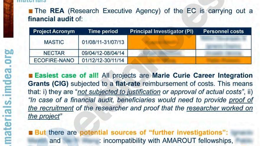 El documento interno de IMDEA que alerta de posibles irregularidades