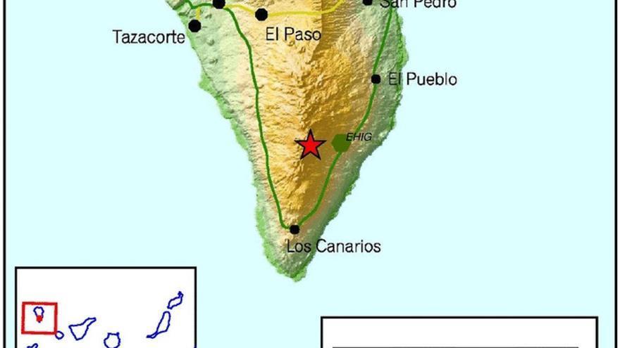 En el mapa del IGN se señala el punto donde se ha localizado el nuevo temblor.