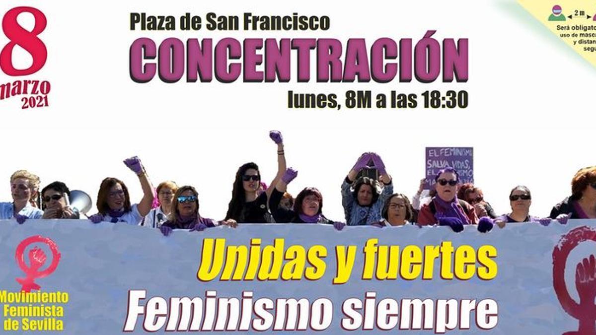 Cartel de la concentración convocada por el Movimiento Feminista de Sevilla.
