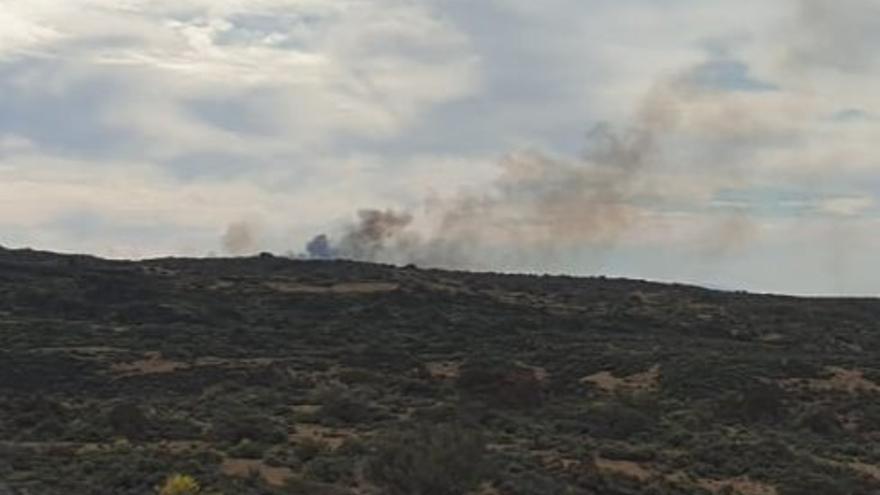 Humareda ocasionada por el fuego declarado en una zona de matorral de la cumbre de Los Realejos, en el norte de Tenerife
