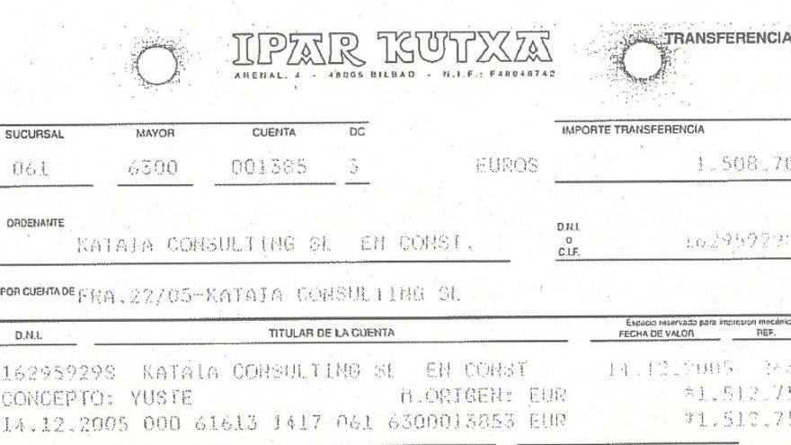 Extracto del pago del viaje a Extremadura con cargo a Kataia Consulting