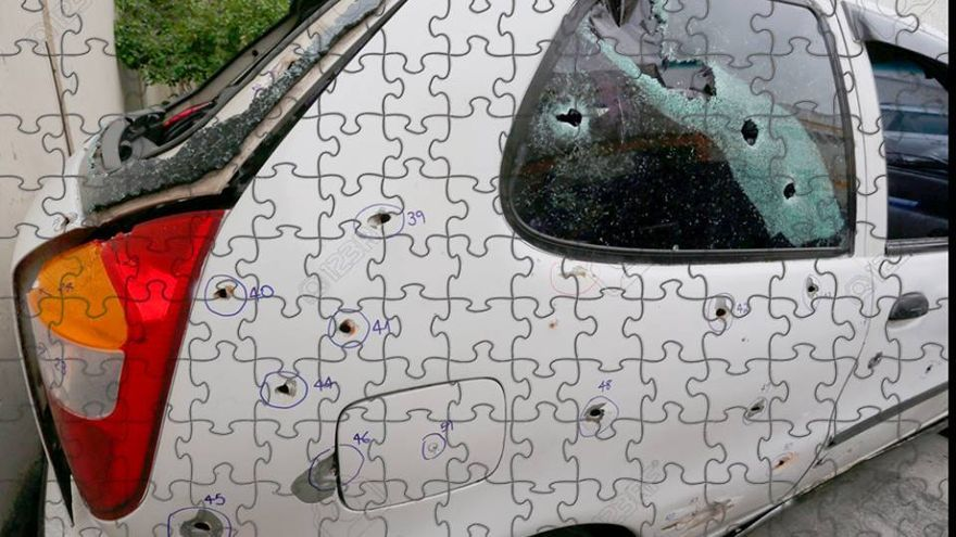 Puzzle de la colección 'anti-souvenirs olímpicos' del artista brasileño Rafucko. Reconstruye el asesinato de cinco jóvenes negros y favelados por la policía militar en el suburbio de Costa Barros, RJ.   FOTO: Rafucko.