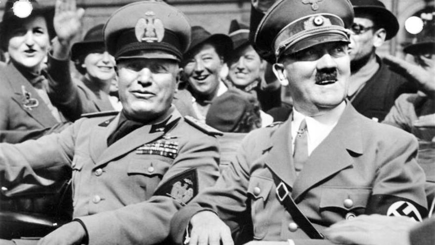 Hitler y Mussolini en Munich, 1938.
