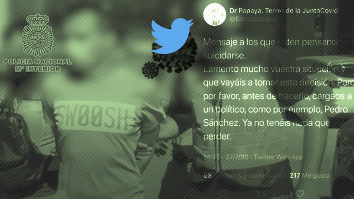 La Policía detuvo en agosto a R. C. F. , @eldoctorpapaya en Twitter. Está acusado de usurpación de funciones públicas, amenazas, incitación al odio, a la violencia, delito contra la integridad moral a través de las redes sociales y calumnias contra autoridades y funcionarios públicos.