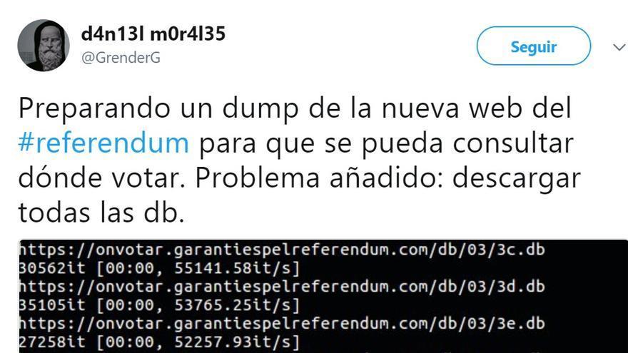 Mensaje de Daniel Morales en Twitter sobre la forma de consultar la web del referéndum de Catalunya.