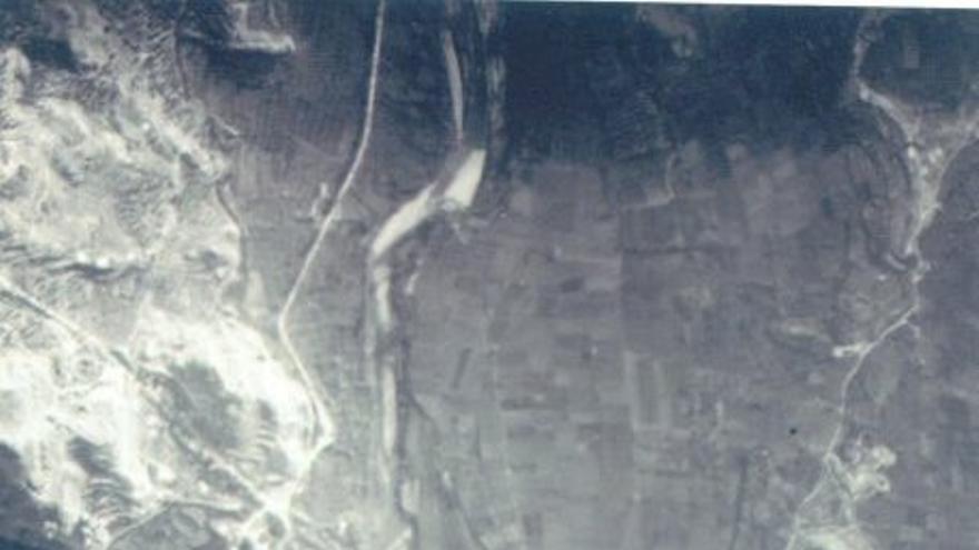Fotografía aérea del bombardeo de Alcañiz