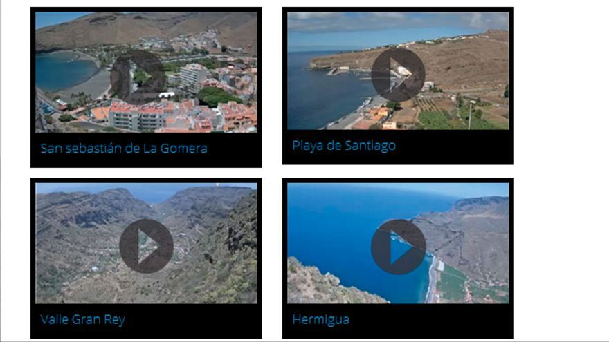 Cinco cámaras permiten conocer La Gomera en tiempo real. Captura de pantalla de www.livefromlagomera.com.