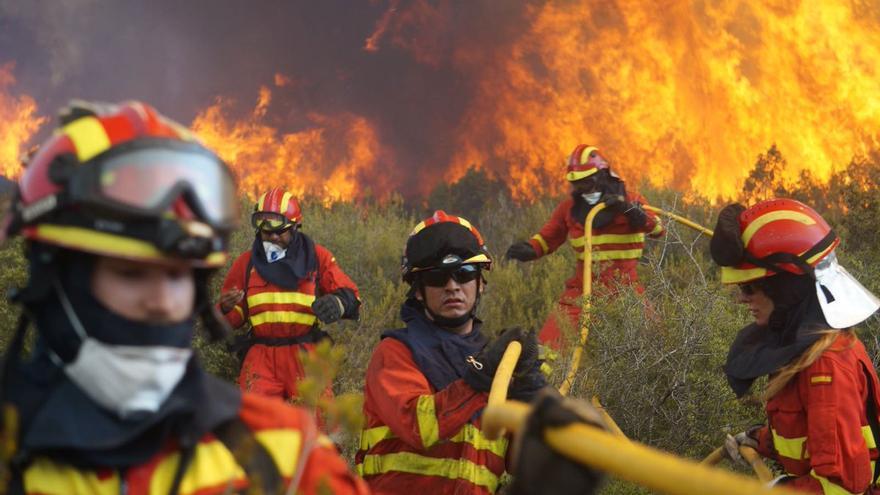 Efectivos de Bomberos y la UME combaten las llamas en Llutxent
