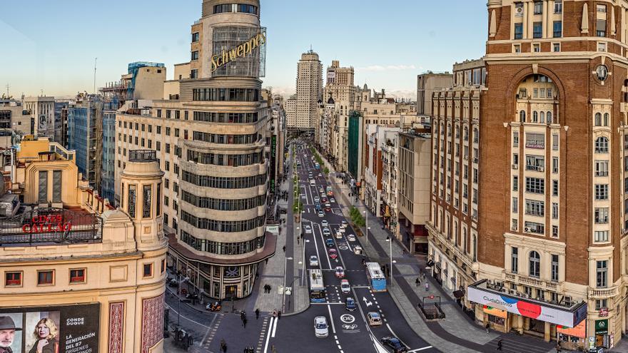 Recreación del tramo de Gran Vía a la altura de Plaza de Callao.