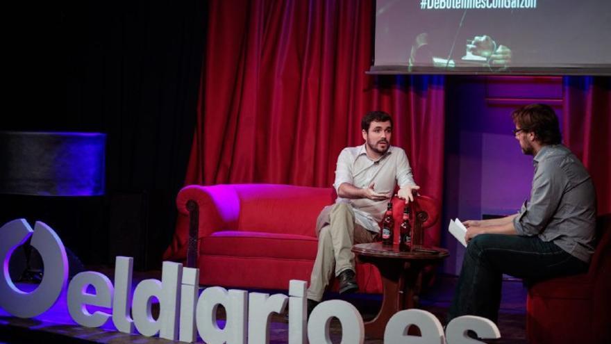 Alberto Garzón, durante el acto organizado por eldiario.es.