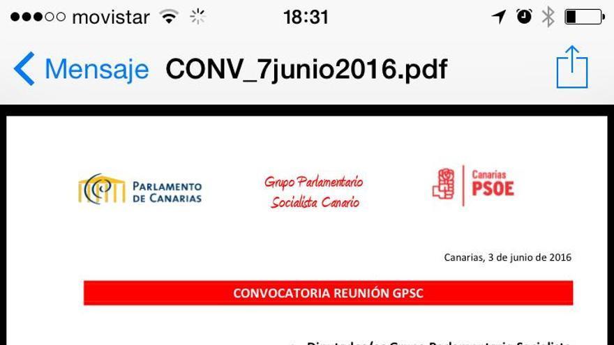Convocatoria de la reunión del Grupo Socialista para el 7 de junio.