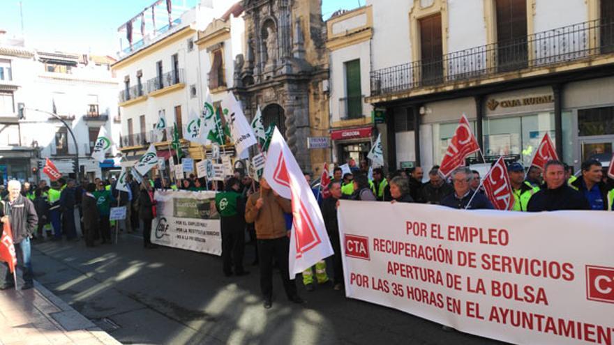 Protesta de los sindicatos del Ayuntamiento en una imagen de archivo | MADERO CUBERO